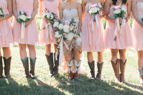 bridesmaids in cowboy boots
