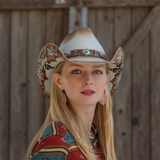 Woman wearing Western Cowboy hat with Blue trim Details