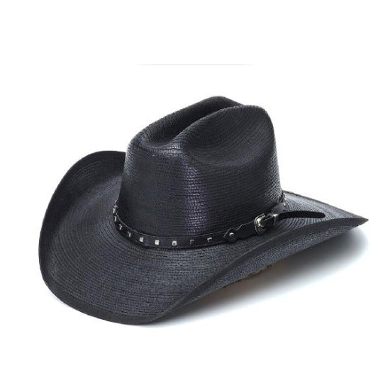 Stampede Black western hat with black band and square studs