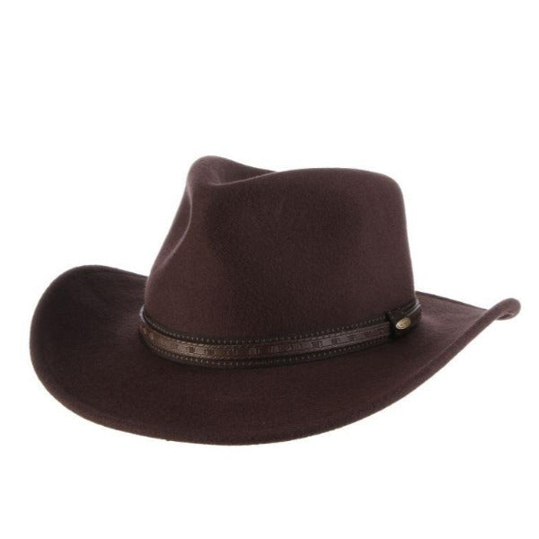 Scala San Antonio Wool Outback Hat - Chocolate