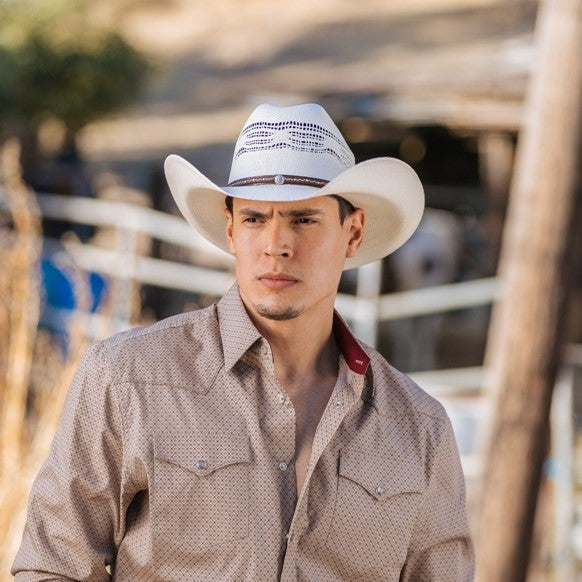 Straw Cowboy Hat | Stampede | Vented | Nickle Concho