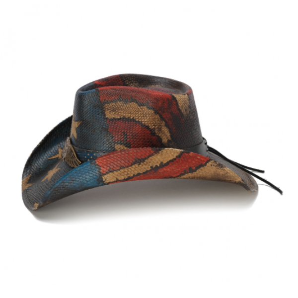 western cowboy hat with american flag, red white & blue