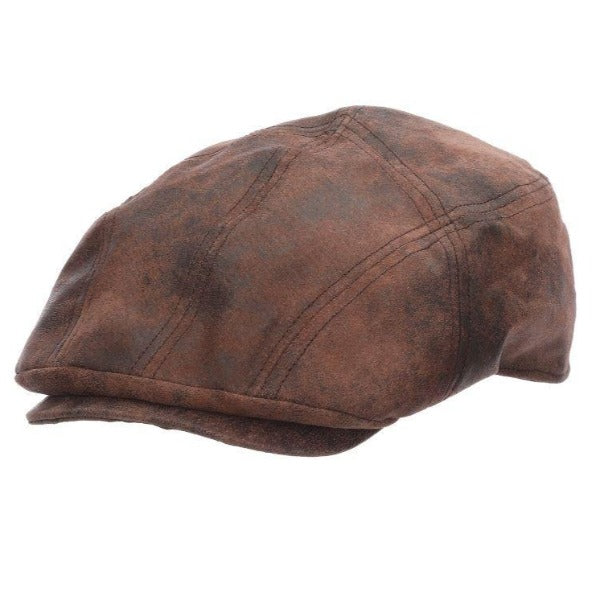 Stetson Leather Newsboy Cap Brown - Sabre