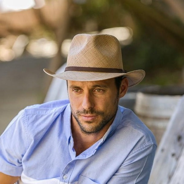 Austral Brown Straw Panama Hat - The Dylan With Leather Band
