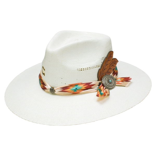Charlie 1 Horse White Straw Hat - The Navajo