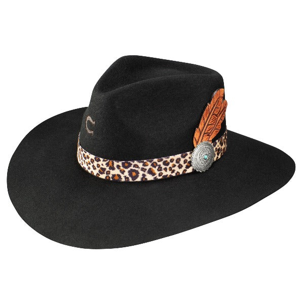 Charlie 1 Horse Heatseeker Black Felt Hat with Leopard band and feather