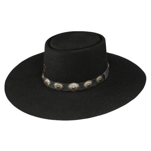 Charlie 1 Horse High Desert Hat in Black with Silver Conchos