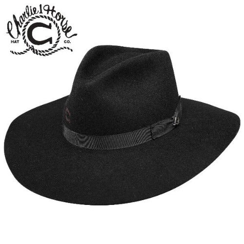 Charlie 1 Horse Highway Hat in Black, on white background