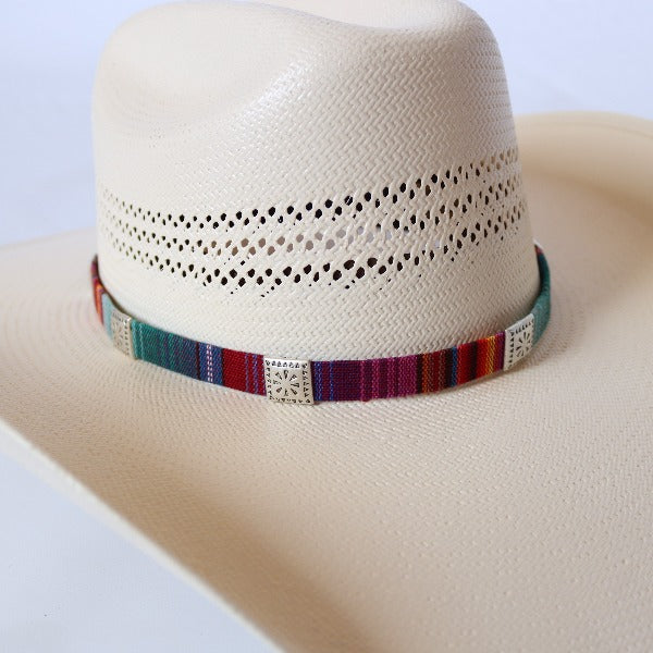 remove-able hatband with square metal studs and rainbow stripes all around