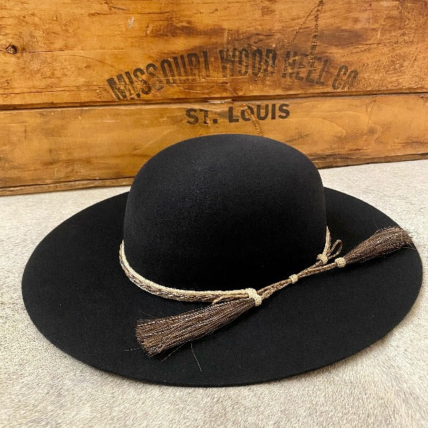 Atwood Black Wool Western Hat with Horse Hair band