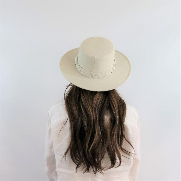 The Palm Springs White Gambler Hat, Boater Crown, Stiff Brim, Asn hats, Willow lane