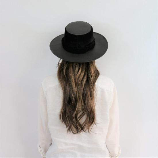 Black Leather Gambler Hat, Boater, Asn hats, Willow Lane