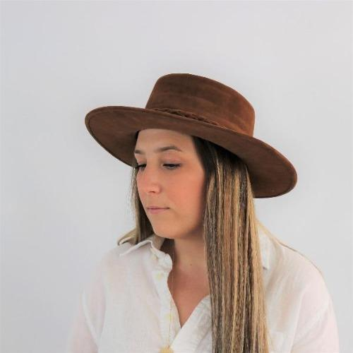 Cordobes Hat Brown Velveteen Double Braided Trim - Sweet Hazel