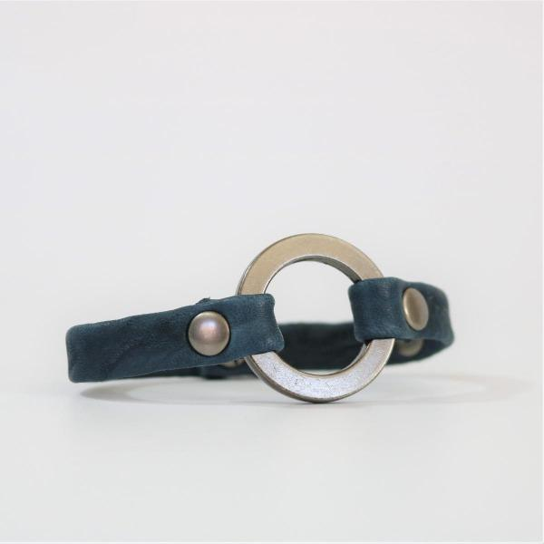 men's blue colored leather bracelet with silver cirlce hardware