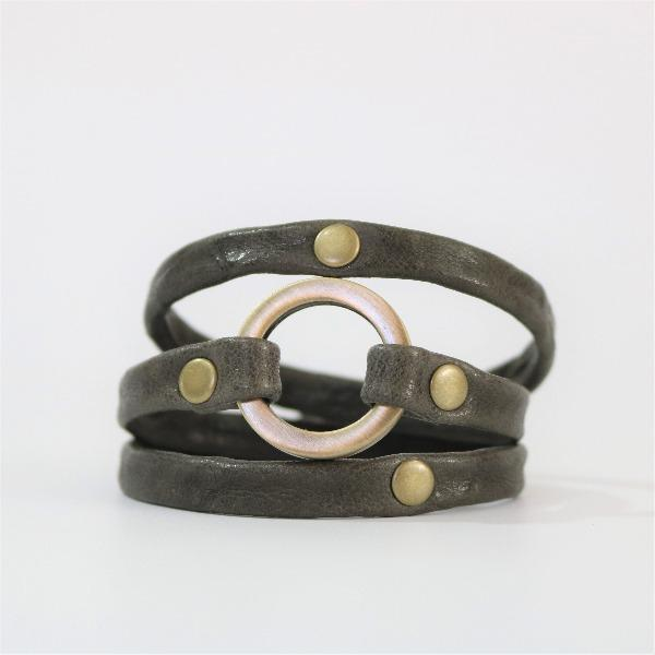 Men's Grey Triple Wrap Leather Cuff - The Meridian with Brass Hardware
