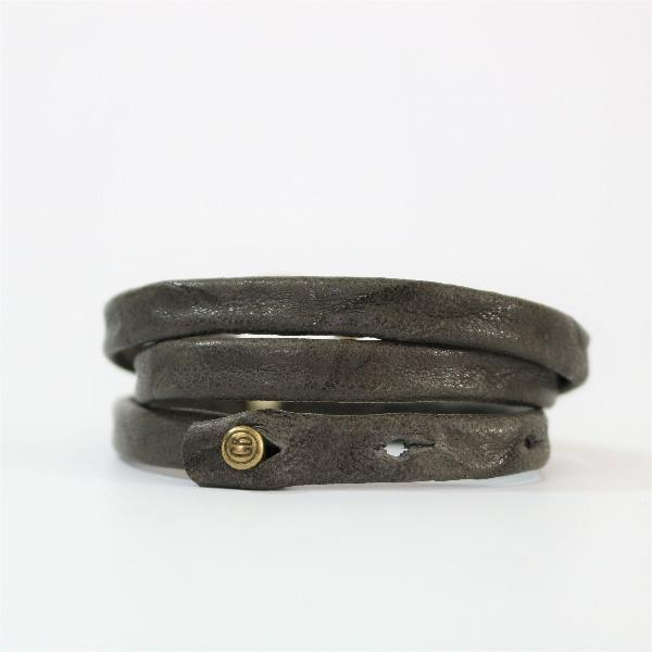 Giving Bracelets Men's Grey Triple Wrap Leather Bacelet - The Meridian with Brass Hardware