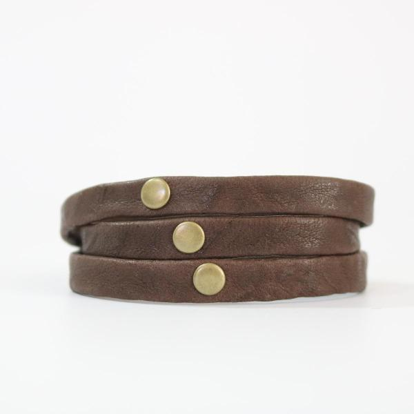 Men's Brown Leather Triple Wrap Cuff - The Treble with Brass Hardware