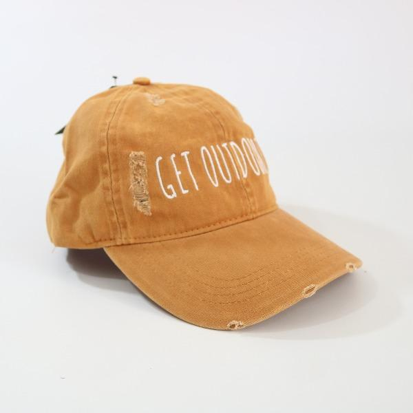 David and Young Orange Distressed Baseball Cap - GET OUTDOORS