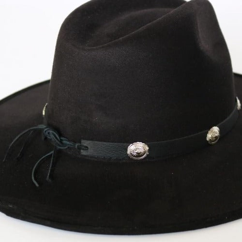 Black Leather Hatband with Silver Conchos - The Bandit