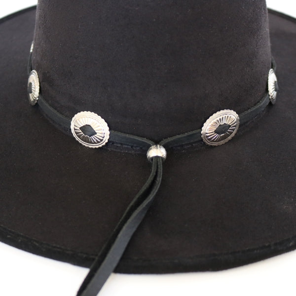 Western Black Leather Hatband with Conchos - The Round Up