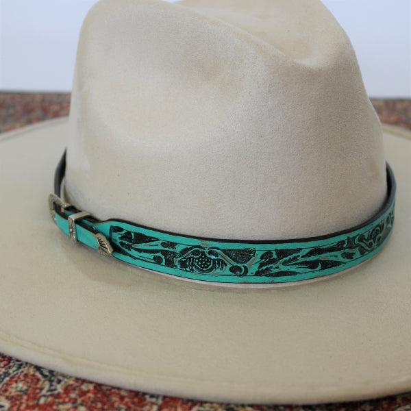 Teal Embossed Leather Hatband - The Jodie