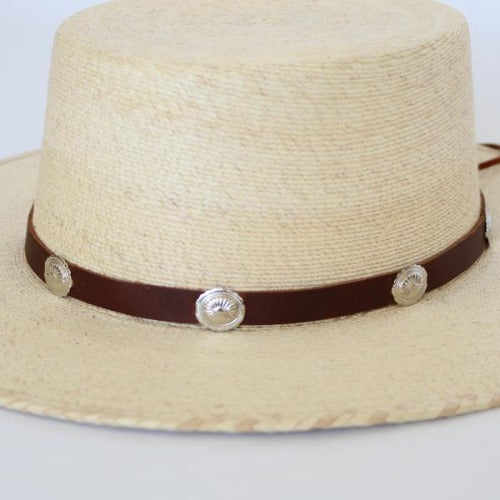 Brown Leather Hatband with Silver Conchos - The Alonzo