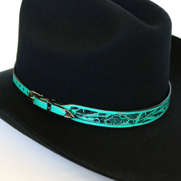 Hat Bands | Teal Embossed Leather