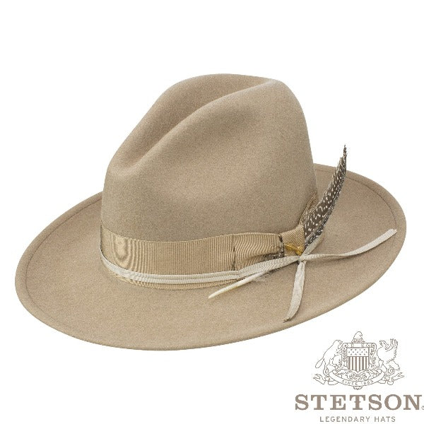 Stetson Western Wool Hat - McCrea in Mushroom with Feather