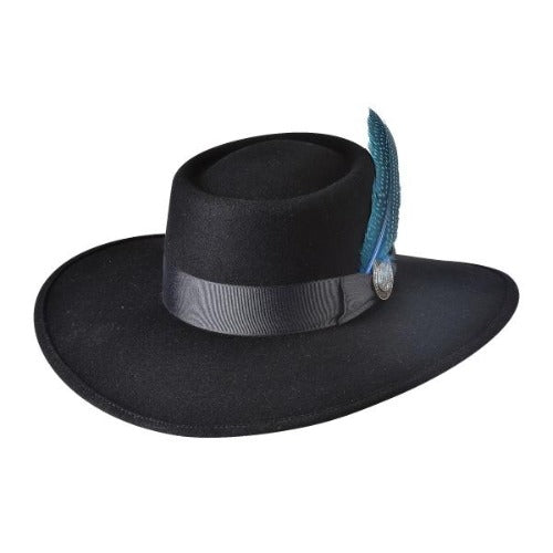 Black wool bullhide hat with black band and blue feather