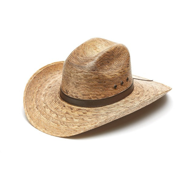 Palm leaf cowboy hat with faux leather band