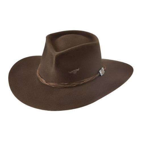 brown wool bullhide hat with leather band and bullhide brand