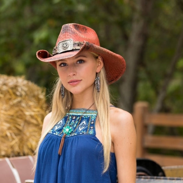 Women's Canvas Cowboy Hat | Stampede | Rolled Brim