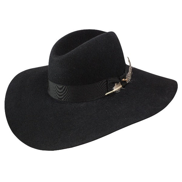 Stetson rapture wide floppy brim hat in felt black color