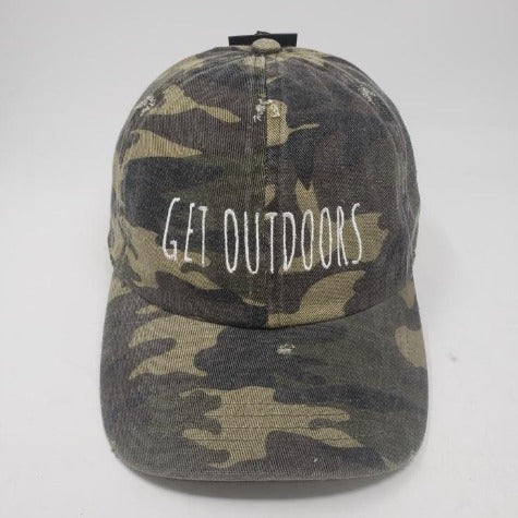 camo baseball cap GET OUTDOORS embroidered on front