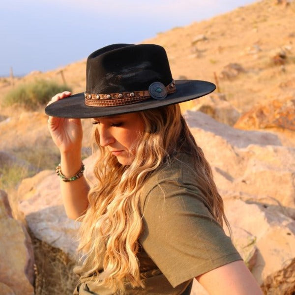 Felt Distressed Rancher Western Hat | Stampede | Leather Concho Hat Band