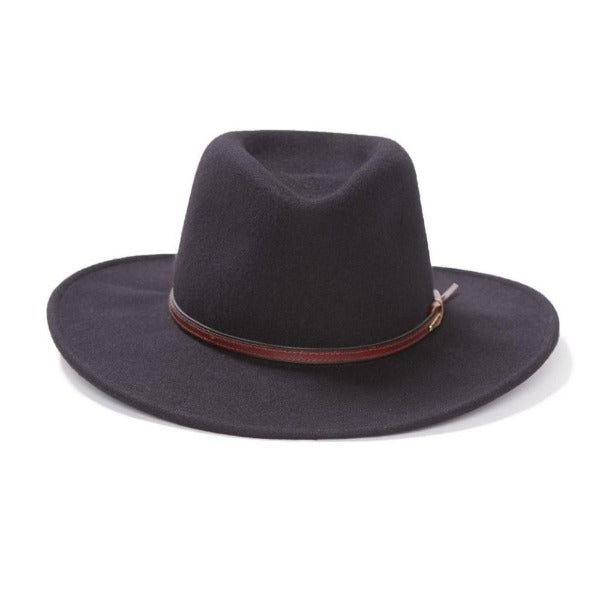 Stetson Black Wool Outdoor Hat with Brown Band