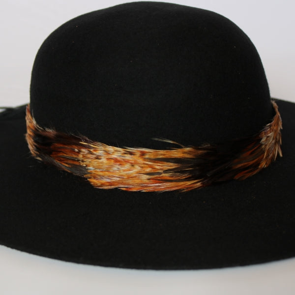 Remove-able natural feather hatband with tan and black colors