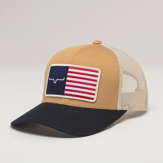 Kimes Ranch American Trucker Hat  | Work Wear Brown | American flag