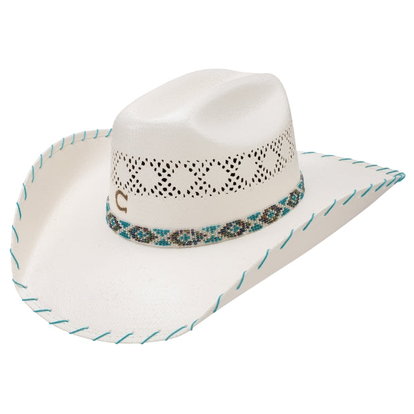 Charlie 1 Horse Kids western straw hat with blue beaded band and brim bound with blue string
