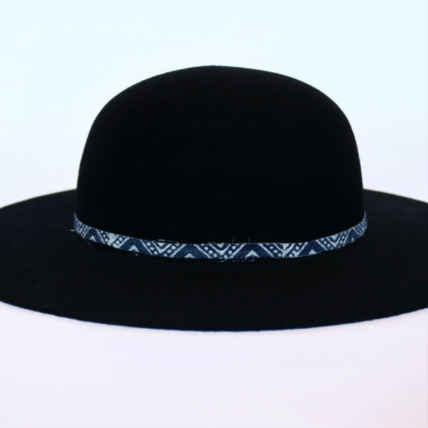 atwood black felt open crown hat with custom blue hatband