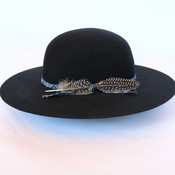 atwood black felt open crown hat with custom hatband