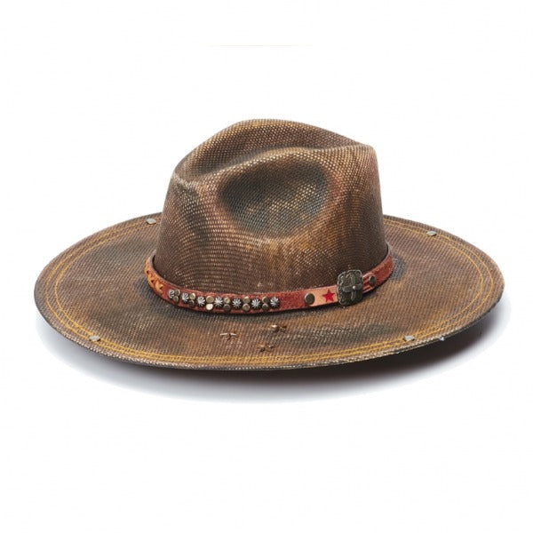 Canvas Distressed Rancher Hat | Stampede | Red Leather Band | Brown