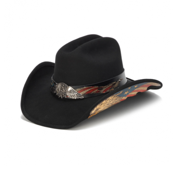 American Eagle USA western black felt hat. Red, White, and blue Flag