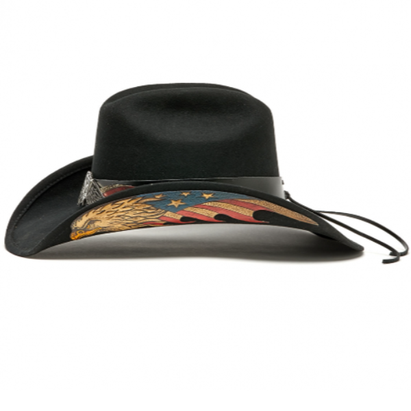 American Eagle USA western black felt hat. Red, White, and blue Flag, Stampede