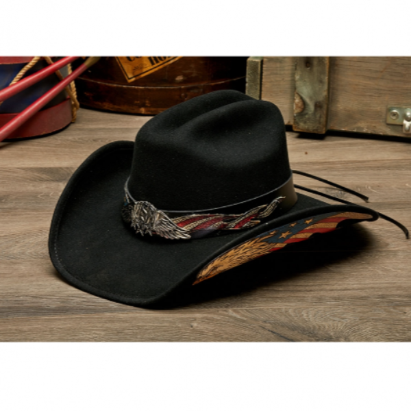 American Eagle USA western black felt hat. Red, White, and blue Flag, Stampede Black felt hat