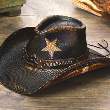 Stampede western style patriotic hat side view of star on crown