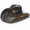 Western style patriuotic hat with straw on the crown, longhorn skull under side brim, and flag on concho Stampede brand