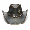Stampede patriotic western style hat front view with flag on silver concho and chain on the band.