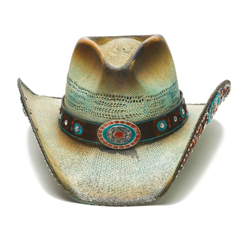 The Paprika Rose Stampede Geniune Bangora Straw Hat, Orange and torquise inlaid leather