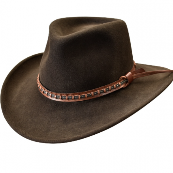 Felt Western Hat | Stampede | Leather band | Brown